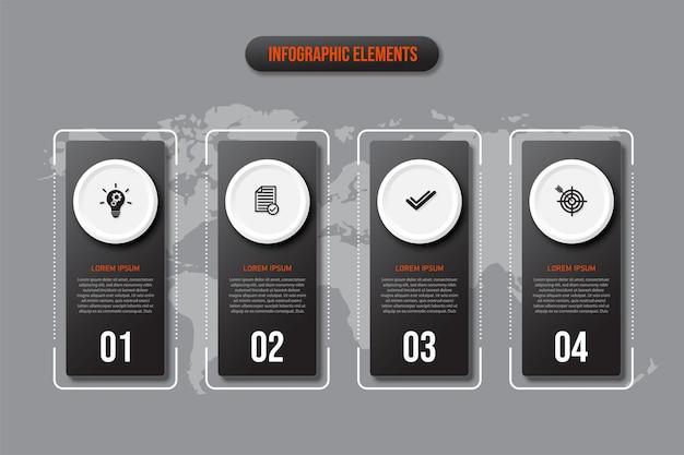 Zwarte rechthoekige infographicselementen, concept bedrijfsmodel met 4 opeenvolgende stappen.