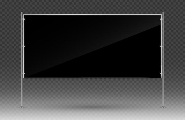 Zwarte reclamebanner. rechthoekige banner met metalen constructie geïsoleerd op transparante achtergrond