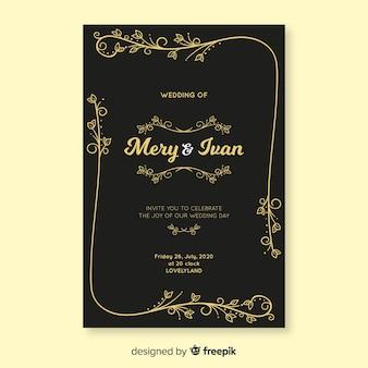 Zwarte retro bruiloft uitnodiging sjabloon