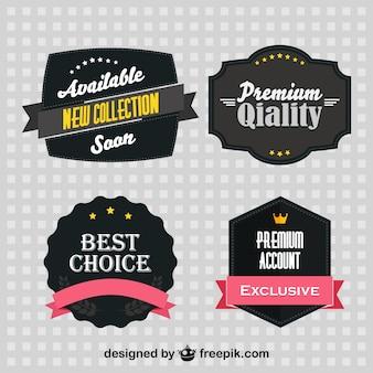 Zwarte retro stickers set