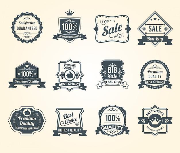 Zwarte retro verkoop labels pictogrammen collectie