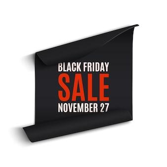 Zwarte rfriday gebogen papieren banner. lint. zwarte vrijdag verkoop. illustratie.