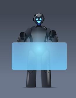 Zwarte robot cyborg wijzend op virtueel bord moderne robot karakter kunstmatige intelligentie technologie