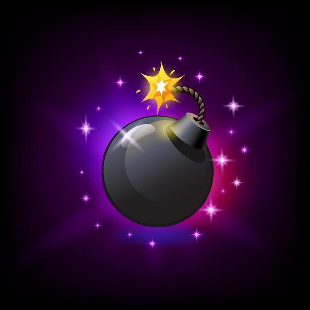 Zwarte ronde bom met brandende lont icoon
