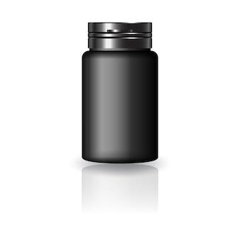 Zwarte ronde medicijnfles met zwarte dop voor schoonheid of gezond product.