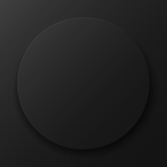Zwarte ronde op een donkere achtergrond. sjabloon voor uw ontwerp. vector illustratie