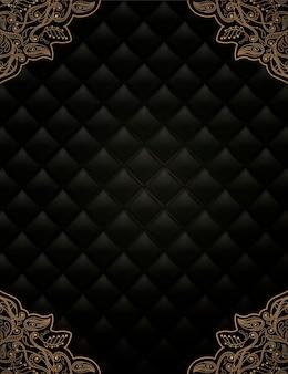 Zwarte ruit achtergrond met gouden frame in 3d-stijl
