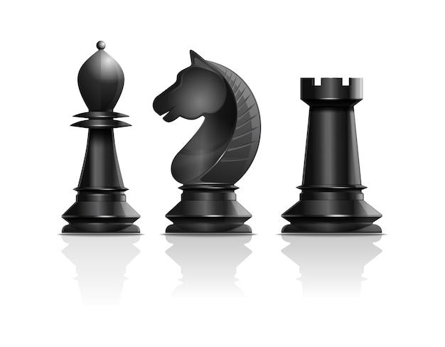 Zwarte schaakstukken loper, ridder, toren. set schaakstukken. schaken conceptontwerp. realistische illustratie geïsoleerd op een witte achtergrond