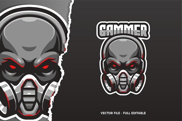 Zwarte schedel e-sport logo sjabloon