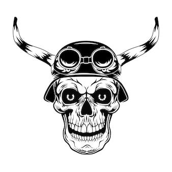 Zwarte schedel in helm met hoorns vectorillustratie. vintage dood hoofd in helm met bril