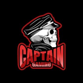 Zwarte schedel mascotte sport esport logo sjabloon voor streamer team