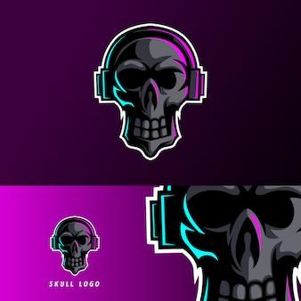 Zwarte schedel oortelefoon mascotte esport logo sjabloon