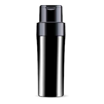 Zwarte shampoo douchegel fles cosmetica mockup