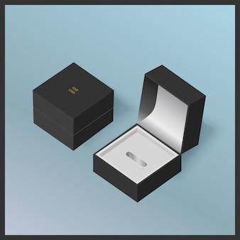 Zwarte sieraden geschenkdozen op blauw