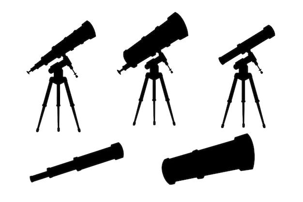 Zwarte silhouet set telescopen met stands en zonder platte vectorillustratie geïsoleerd op een witte achtergrond.