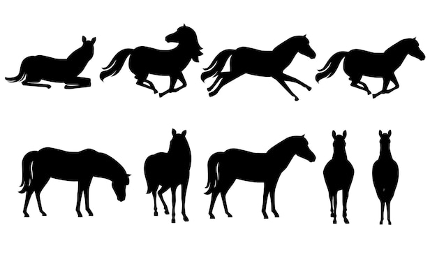 Zwarte silhouet set van bruin paard wild of huisdier cartoon ontwerp platte vectorillustratie