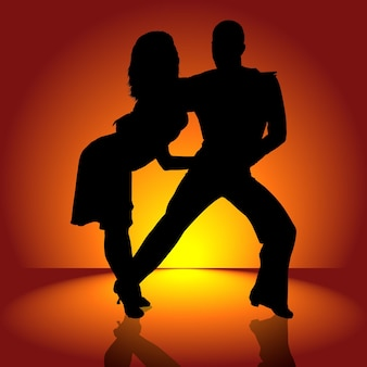 Zwarte silhouetdansers op oranje achtergrond