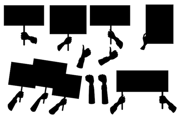 Zwarte silhouetreeks handen die leeg protestteken, plakkaatmalplaatje vlakke vectorillustratie houden die op witte achtergrond wordt geïsoleerd