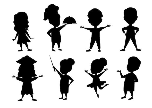 Zwarte silhouetreeks jongens en meisjesjong geitje die kostuums van het karaktervector van het beroepenbeeldverhaal dragen