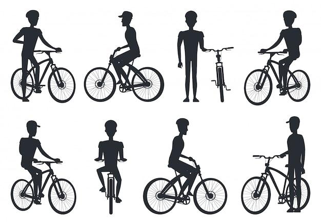 Zwarte silhouetten van fietser rijden op de fiets