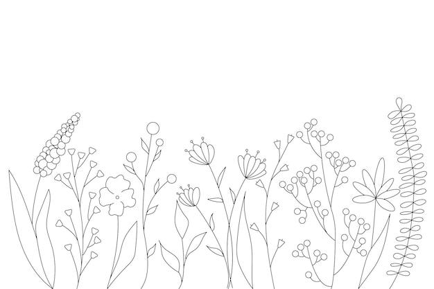 Zwarte silhouetten van gras, bloemen en kruiden. minimalistische eenvoudige bloemenelementen. botanisch natuurlijk. grafische schets. handgetekende bloemen. ontwerp voor sociale media. overzicht, lijn, doodle stijl.
