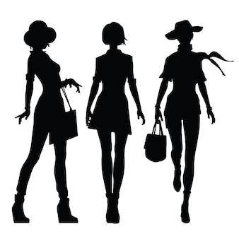 Zwarte silhouetten van vrouwen