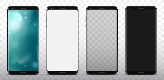 Zwarte slimme telefoonillustratieset met transparante achtergrond