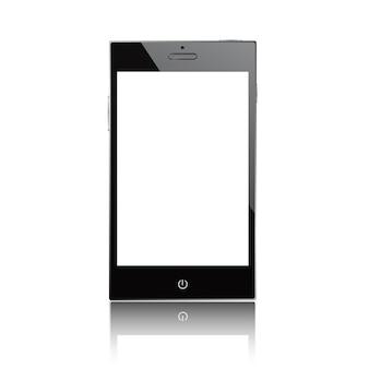 Zwarte smartphone geïsoleerd op witte achtergrond