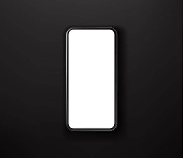 Zwarte smartphone op zwarte achtergrond