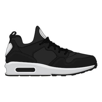 Zwarte sneakers ontwerp pictogrammen