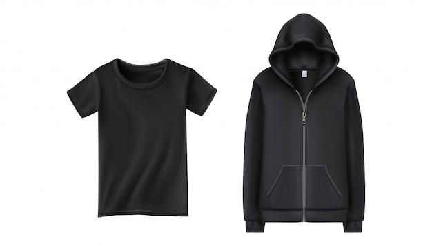 Zwarte sport hoodie en t-shirt. illustratie op witte achtergrond.