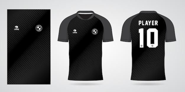 Zwarte sportjerseysjabloon voor teamuniformen en voetbalt-shirtontwerp