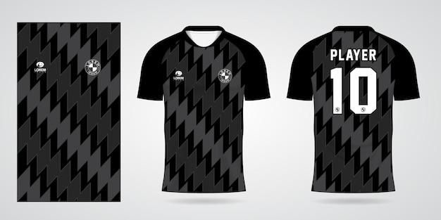 Zwarte sporttrui-sjabloon voor teamuniformen en voetbalt-shirtontwerp