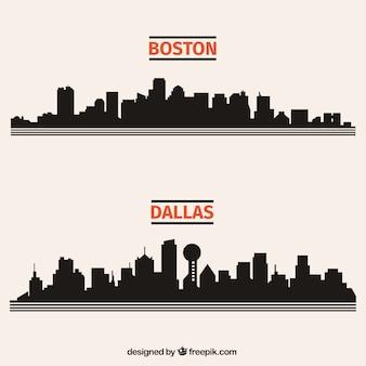 Zwarte stad skylines