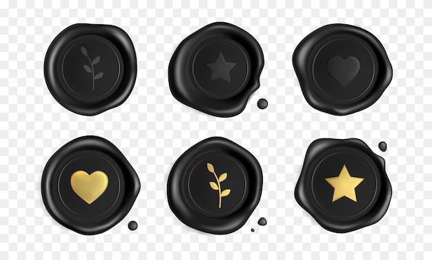 Zwarte stempel wax zeehonden set met gouden hart, tak en ster geïsoleerd. certificaat koninklijke zwarte stempels