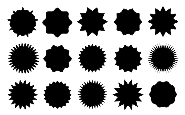 Zwarte sterstickers speciale aanbieding verkoop tag korting aanbieding prijs label blanco promo sunburst sticke