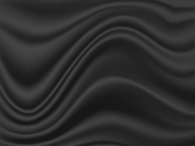 Zwarte stoffengolf of golvende textuurachtergrond