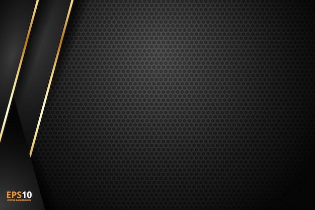 Zwarte streep met gouden rand op de donkere achtergrond