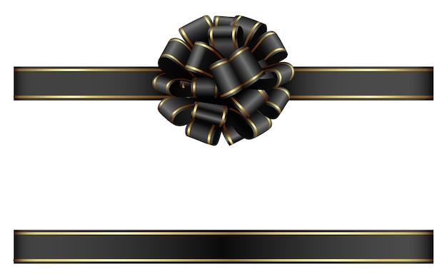 Zwarte strik en lint met gouden rand