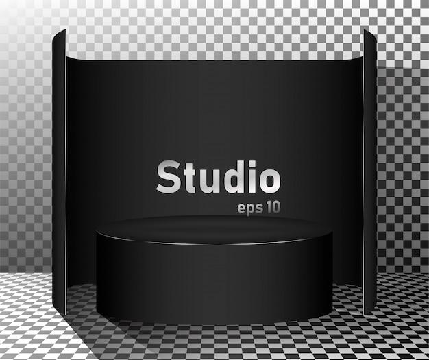 Zwarte studiotafel. vrije ruimte voor productpresentatie.