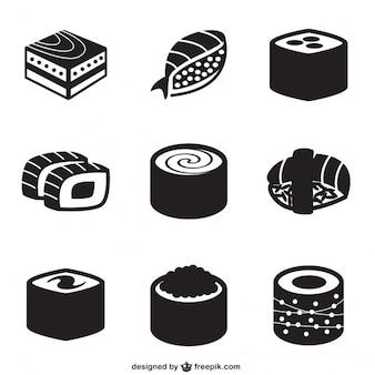 Zwarte sushi pictogrammen