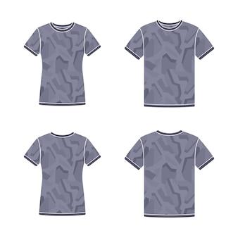 Zwarte t-shirts sjablonen met korte mouwen met het camouflagepatroon