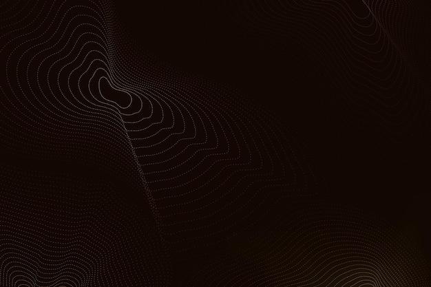 Zwarte technologie achtergrondvector met bruine futuristische golven