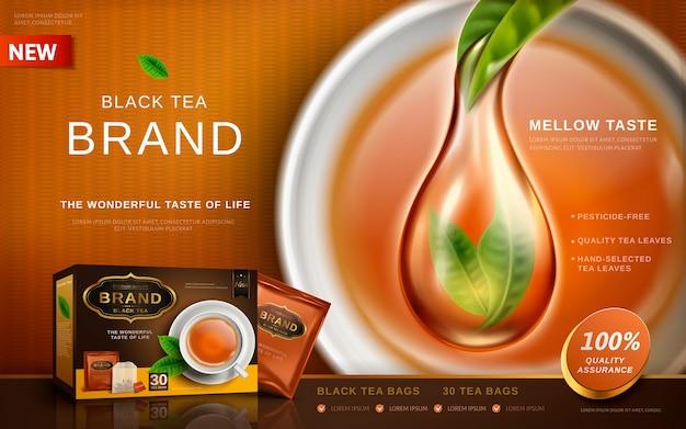 Zwarte thee-advertentie met speciaal effect van pure thee, theekopachtergrond