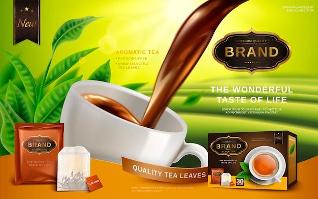Zwarte thee-advertentie, met theebladeren en pakketdoos