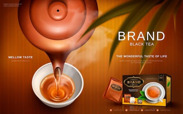 Zwarte thee-advertentie met traditionele chinese theepot die hete thee in een kop giet