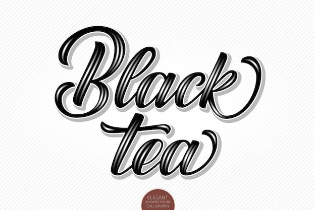 Zwarte thee. handgetekende dankbare kaart met moderne borstelkalligrafie.