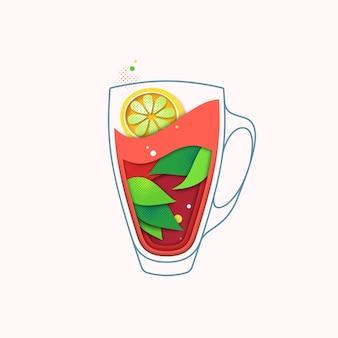 Zwarte thee met citroen creatieve illustratie, warm kruidendrankconcept. geïsoleerde beker met bladeren.