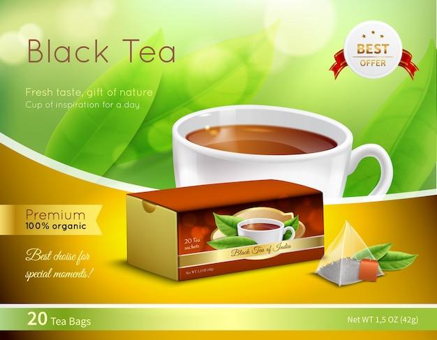 Zwarte thee reclame realistische samenstelling