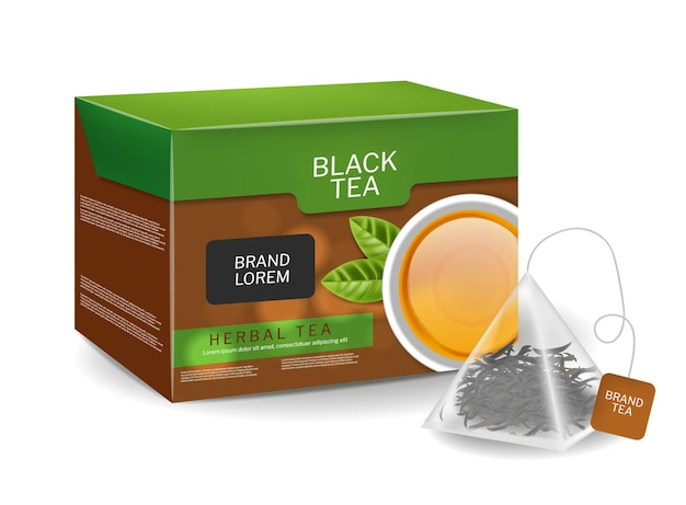 Zwarte theepak in driehoekige zakkeninfusie biologische kruiden vector realistische drank